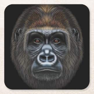 Illustrated portrait of Gorilla male. Square Paper Coaster