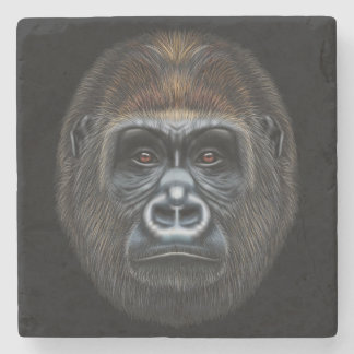 Illustrated portrait of Gorilla male. Stone Coaster