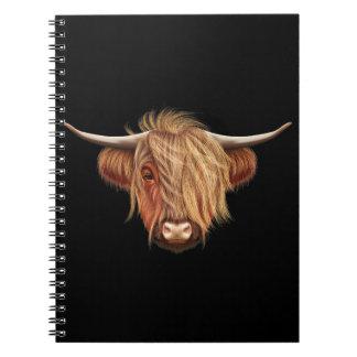 Illustrated portrait of Highland cattle. Notebooks