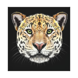 Illustrated portrait of Jaguar. Canvas Print