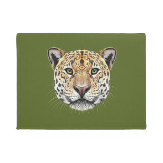 Illustrated portrait of Jaguar. Doormat