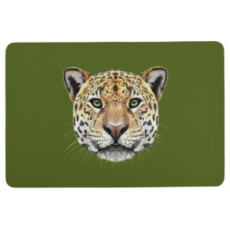 Illustrated portrait of Jaguar. Floor Mat