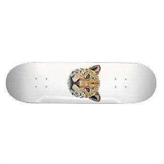 Illustrated portrait of Jaguar. Skateboard Deck