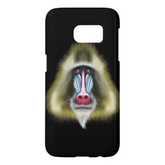 Illustrated portrait of Mandrill monkey.