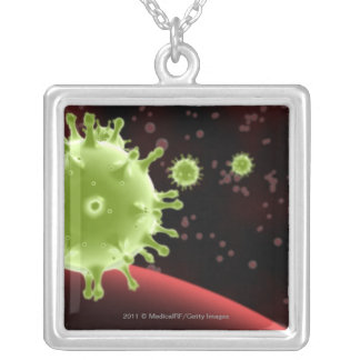 Illustrated rendering of the SARS coronavirus Silver Plated Necklace