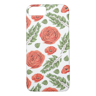 Illustrated Roses Floral Pattern iPhone 7 Case