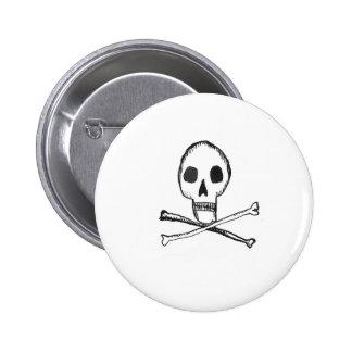 Illustrated Skull 6 Cm Round Badge