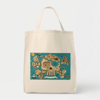 Illustrated Skull Island Map Tote Bag