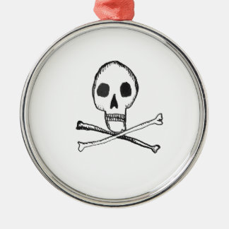 Illustrated Skull Silver-Colored Round Decoration