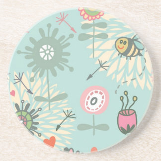 Illustrated Spring Flowers and Bees Drink Coaster