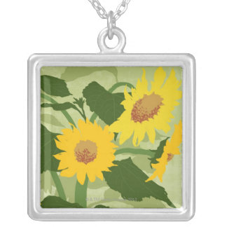 Illustrated Sunflowers Silver Plated Necklace