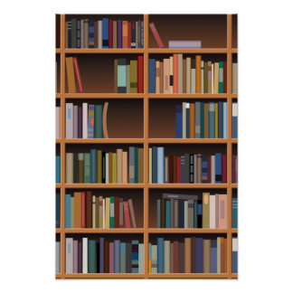 Illustrated Tall Bookshelf Poster