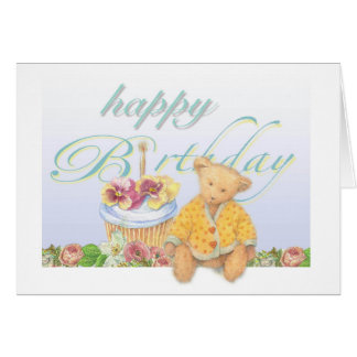 Illustrated teddybear cupcake birthday card
