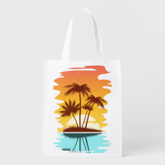 Illustrated Tropical Island Reusable Grocery Bag