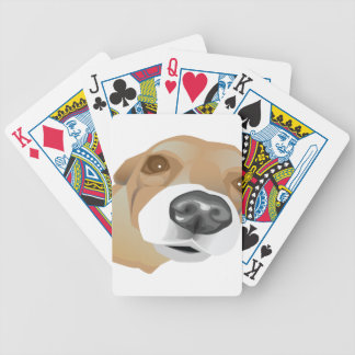 Illustrated vector portrait of a little dog bicycle playing cards