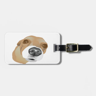 Illustrated vector portrait of a little dog luggage tag