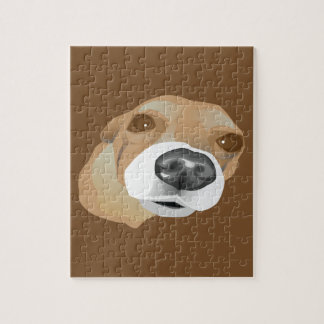 Illustrated vector portrait of a little dog puzzles