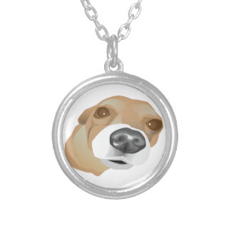 Illustrated vector portrait of a little dog silver plated necklace