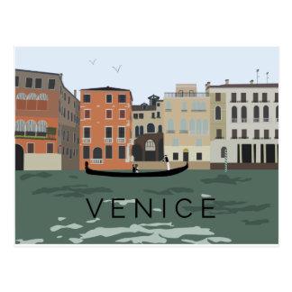 Illustrated Venice Gondola Postcard