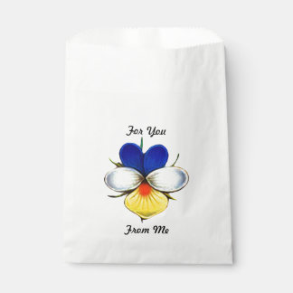 Illustrated Viola Flower w/ Custom Message Favour Bag