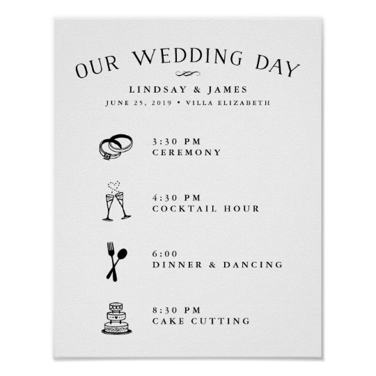 Illustrated wedding day schedule poster zazzle illustrated wedding day schedule poster junglespirit Image collections