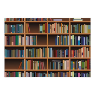 Illustrated Wide Bookshelf Posters