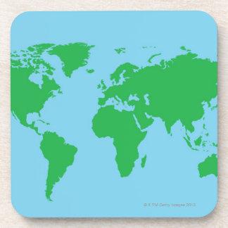Illustrated World Map Beverage Coaster