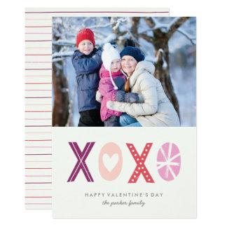 Illustrated XOXO Valentine's Day Card - Plum 13 Cm X 18 Cm Invitation Card