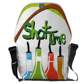 Illustration Alcohol bottles at a bar Messenger Bags