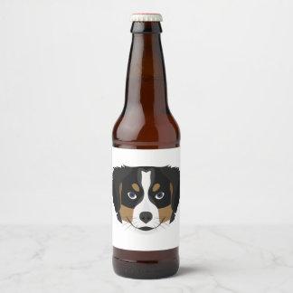 Illustration Bernese Mountain Dog Beer Bottle Label