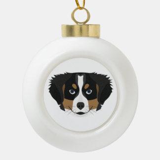 Illustration Bernese Mountain Dog Ceramic Ball Christmas Ornament