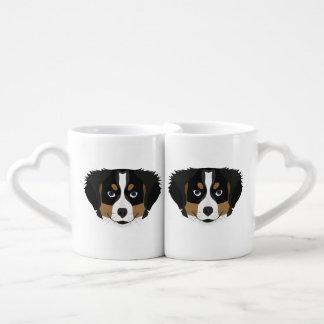 Illustration Bernese Mountain Dog Coffee Mug Set