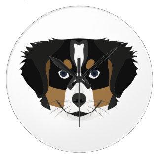 Illustration Bernese Mountain Dog Large Clock