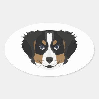 Illustration Bernese Mountain Dog Oval Sticker