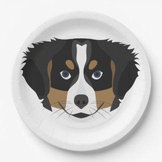 Illustration Bernese Mountain Dog Paper Plate
