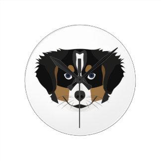Illustration Bernese Mountain Dog Round Clock