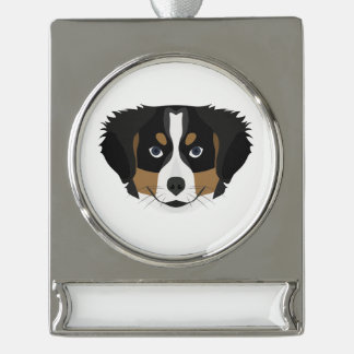 Illustration Bernese Mountain Dog Silver Plated Banner Ornament