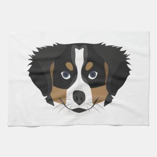 Illustration Bernese Mountain Dog Tea Towel