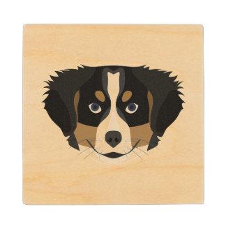 Illustration Bernese Mountain Dog Wood Coaster