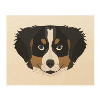 Illustration Bernese Mountain Dog Wood Wall Art