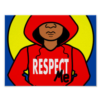 Illustration Black Boy Wearing Red Hoodie Poster