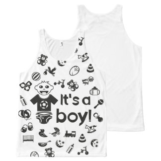 Illustration black IT'S A BOY! All-Over Print Tank Top