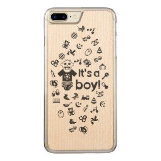 Illustration black IT'S A BOY! Carved iPhone 8 Plus/7 Plus Case