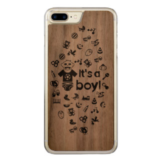 Illustration black IT'S A BOY! Carved iPhone 8 Plus/7 Plus Case