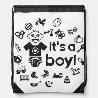 Illustration black IT'S A BOY! Drawstring Bag
