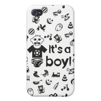 Illustration black IT'S A BOY! iPhone 4/4S Case