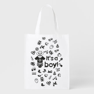 Illustration black IT'S A BOY! Reusable Grocery Bag