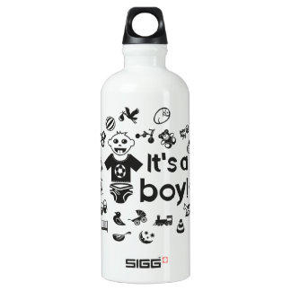 Illustration black IT'S A BOY! Water Bottle