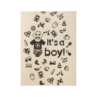 Illustration black IT'S A BOY! Wood Poster