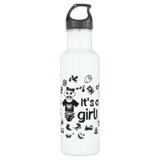 Illustration black IT'S A GIRL! 710 Ml Water Bottle